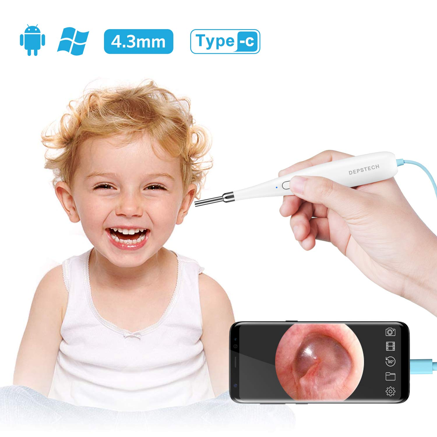 DEPSTECH 4.3mm USB Otoscope, Ultra-Thin HD Ear Scope Camera with 6 Adjustable LED Lights, Digital Audiology Inspection Endoscope for OTG Android Devices, Windows & Mac PC
