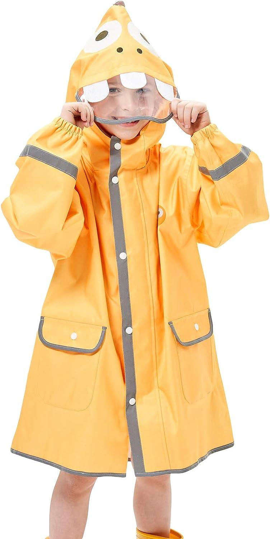 CAMLAKEE Regenponcho Kinder Schulranzen Wasserdicht Regenmantel Regenjacke mit Reflektoren f/ür Jungen und M/ädchen