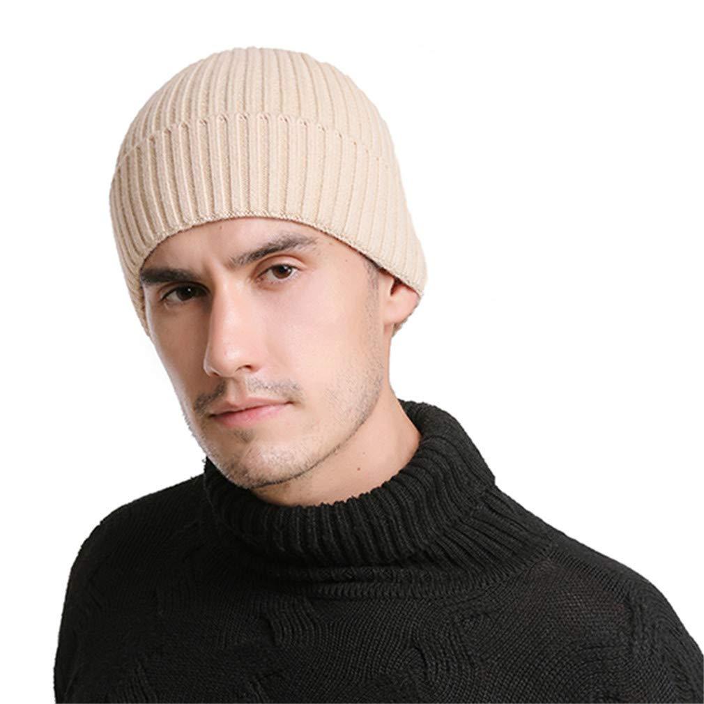 54ef26f9f1dc9 HLHYES Wool Beanies Knit Men's Winter Hat Caps Skullies Bonnet Winter Hats  Men Women Beanie Warm Baggy Beige at Amazon Men's Clothing store: