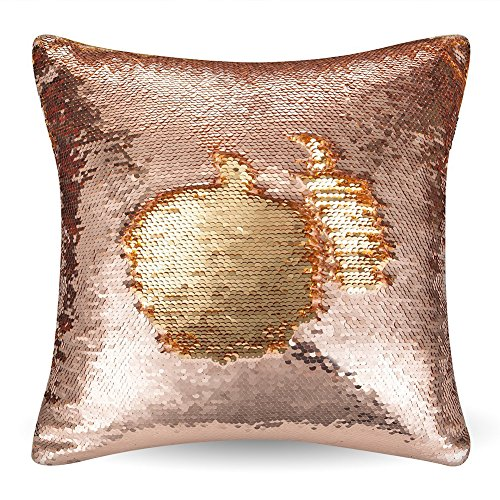 "URSKYTOUS Reversible Sequin Pillow Case Decorative Mermaid Pillow Cover Color Changing Cushion Throw Pillowcase 16"" x 16"",Champagne and Gold from URSKYTOUS"