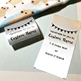 100 pcs Custom text logo personalized Sewing hanging satin ribbon clothing labels folding name tag washable wash care handmade label size C