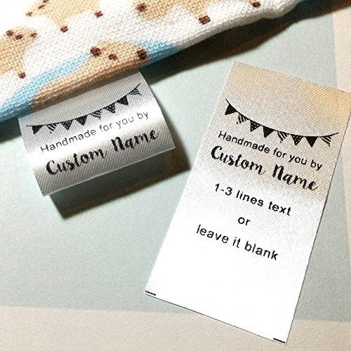 100 pcs Custom text logo personalized Sewing hanging satin ribbon clothing labels folding name tag washable wash care handmade label size C by Generic