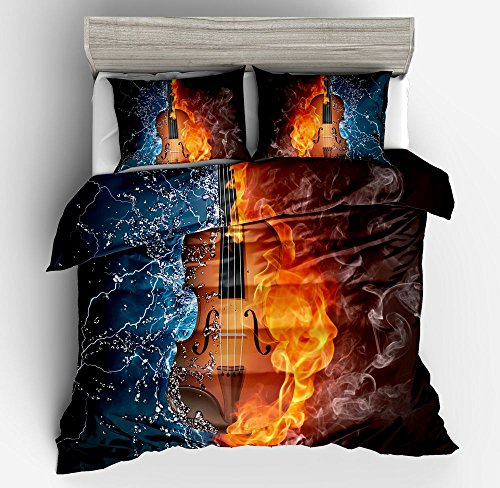 Gorgeous Rock Fire Guitar Music Cotton Microfiber 3pc 90''x90'' Bedding Quilt Duvet Cover Sets 2 Pillow Cases Queen Size by DIY Duvetcover