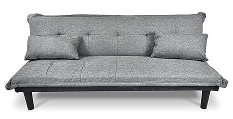 Divano letto clic clac in tessuto grigio chiaro - divanetto mod ...