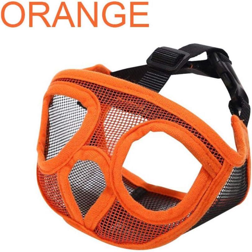 Gulunmun BozalCorto para Mascotas Bozales para PerrosMalla Transpirable Ajustable Bulldog francés Pug Boca Bozal Máscara Anti Stop Barking Supplies-Orange, XXS (19-29cm)