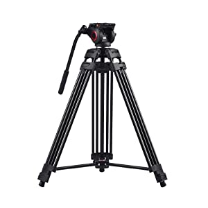 miliboo Aluminum Fluid Head Camera 60-inch Tripod Stand for Camcorder / DSLR Monopod Video with Middle Spreader Complete Tripod Units at amazon