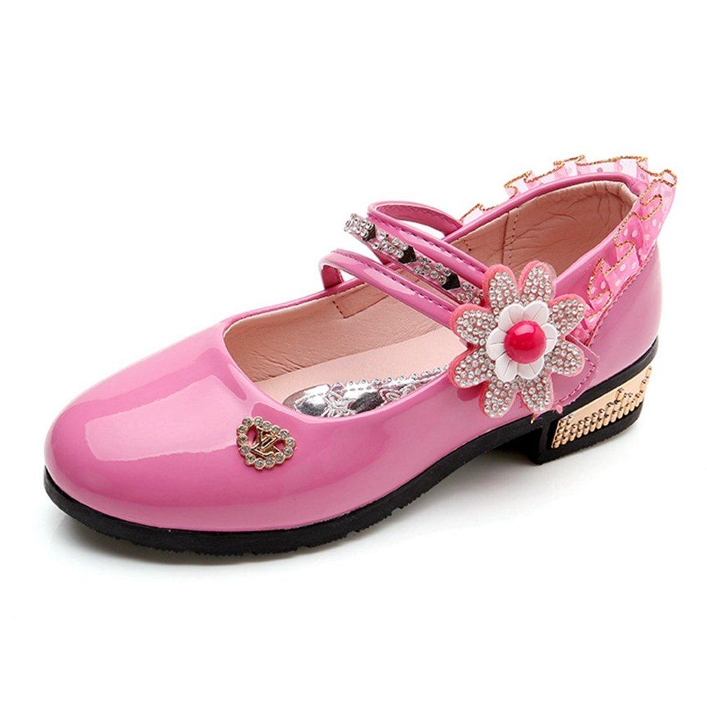 Girl's Adorable Mary Jane Side Flower Strap Low Heels Princess Dress Shoes (Toddler/Little Kid)