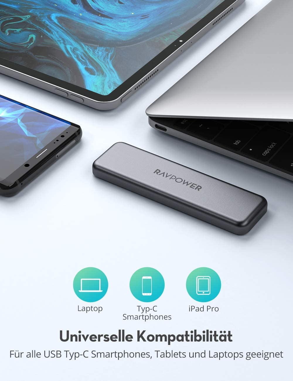 ATA Encryption USB 3.1 and NAND Flash RAVPower External SSD 512GB Portable Mini SSD Hard Drive Up to 540 MB//s 1M Shockproof 1T