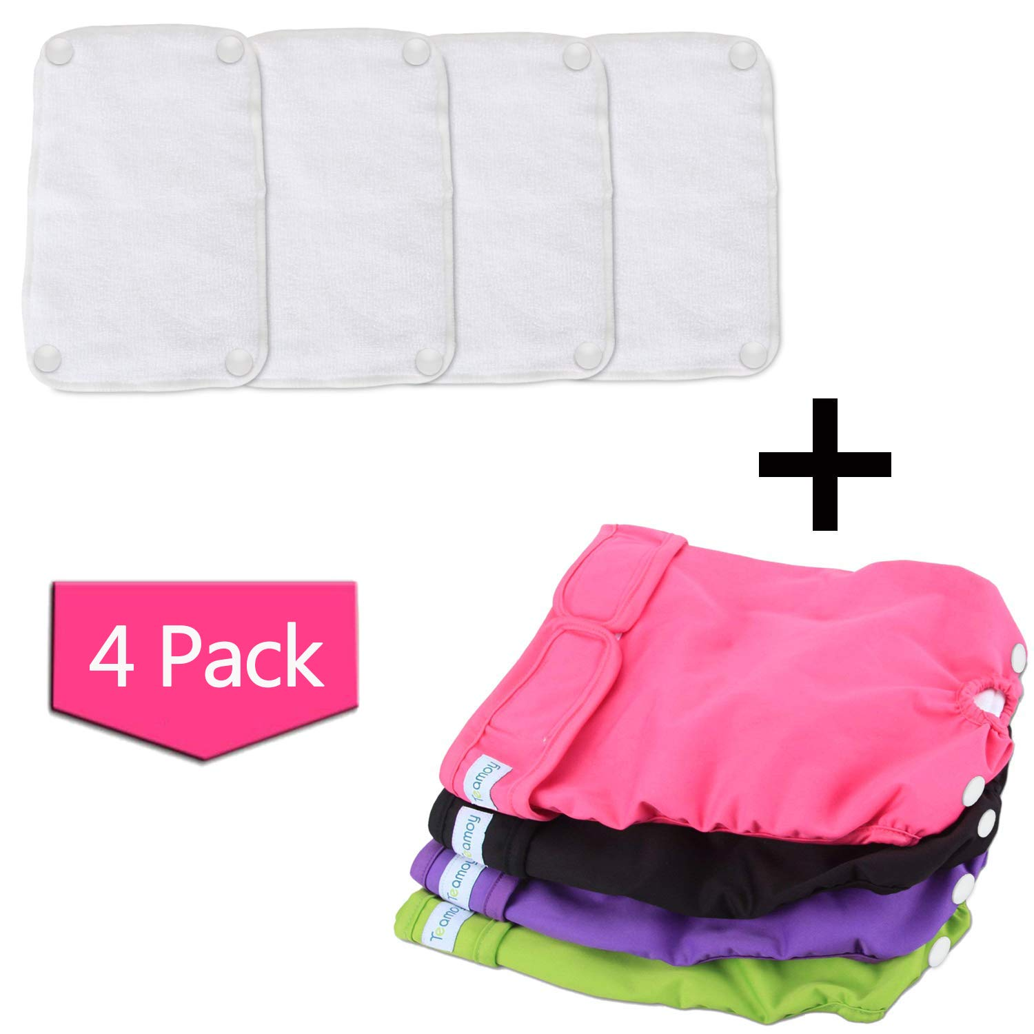 Teamoy Reusable Female Dog Diapers with Removable Pads(Pack of 4), Washable Doggie Diaper Wraps for Female Dogs, Super-Absorbent, Comfortable and Stylish, L by Teamoy