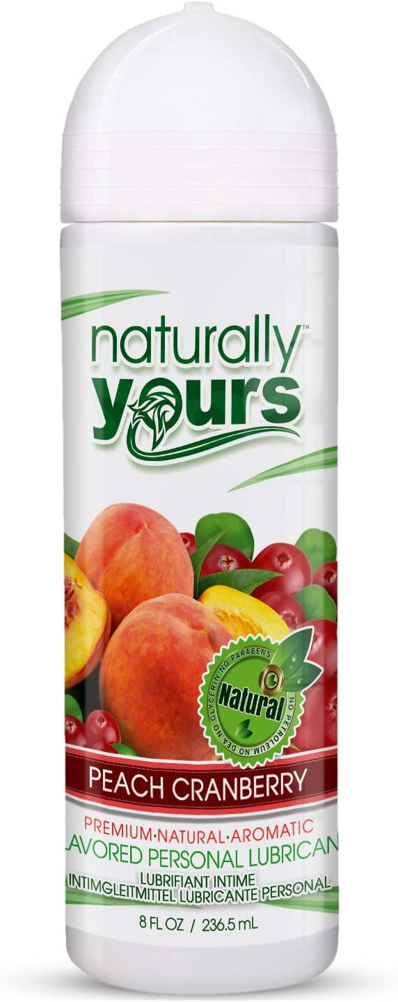 Naturally Yours - Peach Cranberry Flavored, Natural Personal Lubricant 8 oz for Couples, Women & Men