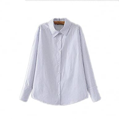 Fashion Women New Design Brand Shirt Summer NEW Cotton Blouse Long Sleeve Lapel Striped Shirts Plus