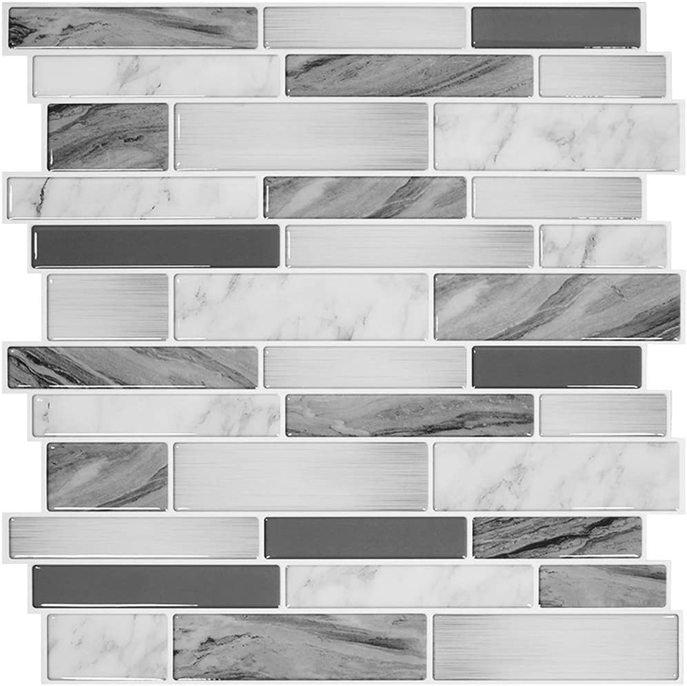 Thicker Design 12 X12 White Marble Look Self Adhesive Kitchen Backsplash Tiles Stickgoo 10 Sheet Carrara Arabesque Tile Peel Stick Backsplash Tiles Building Materials Urbytus Com