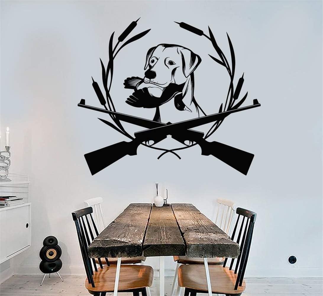 Vinilo Extraíble Pegatinas de Pared Calcomanías Murales Arte de la Familia Caza Pistola Perro Labrador Club Tienda Pato Wildfowl