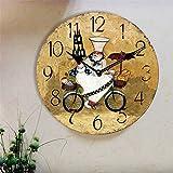 14INCH Chef in Kitchen Making Food Kitchen Round Hanging Wall Clock Gift(Diameter: 34 cm)