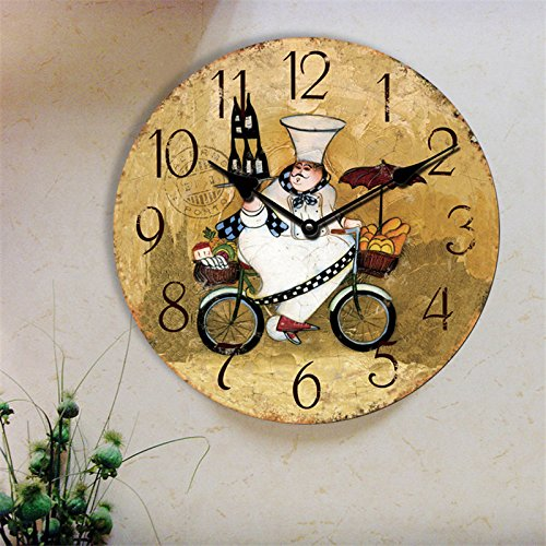 14INCH Chef in Kitchen Making Food Kitchen Round Hanging Wall Clock Gift(Diameter: 34 cm) (Chef Wall Clock)