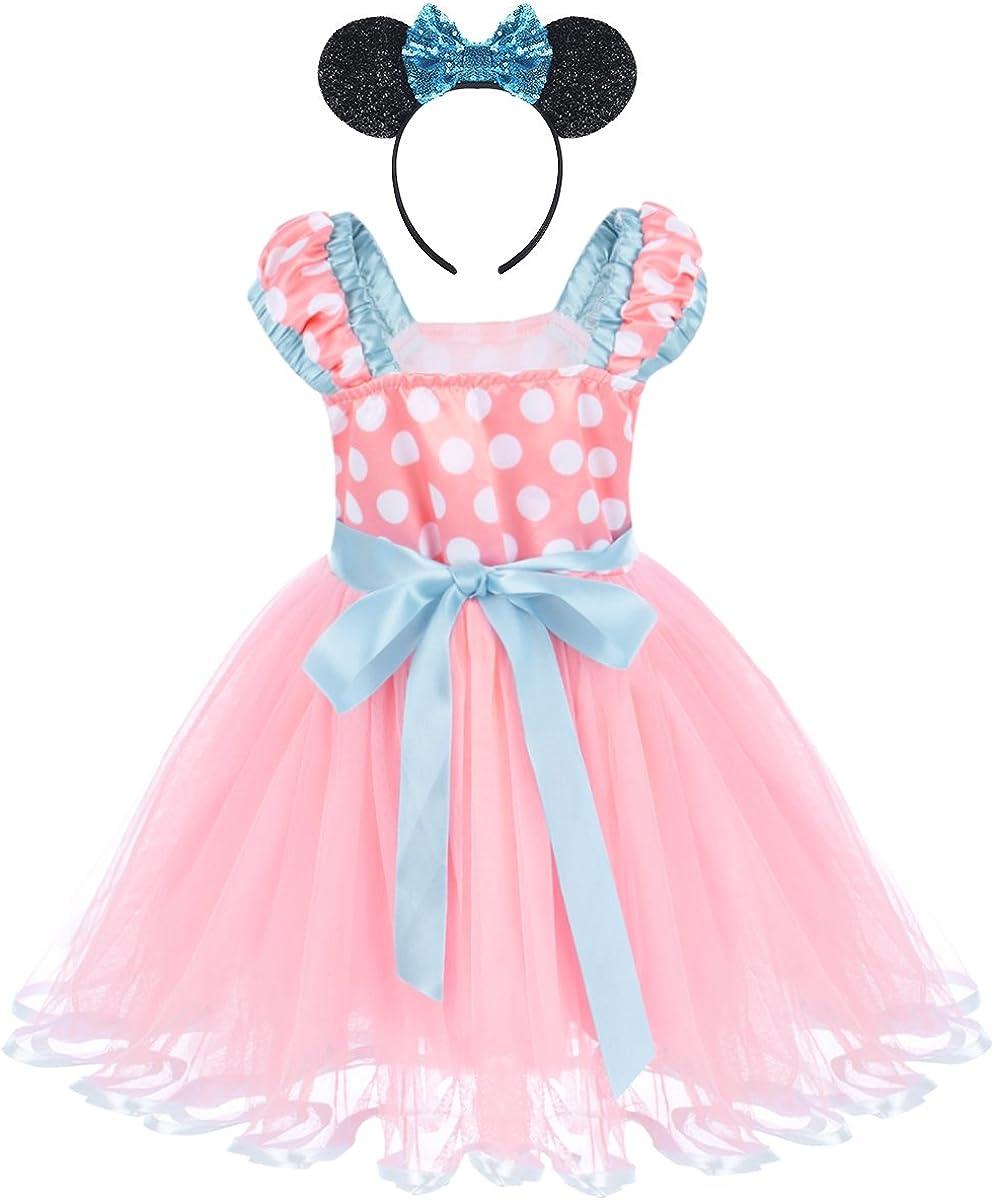 Vestiti Carnevale per Bambina fiore Ragazze Abiti Vestito Costume Principessa Balletto Tutu Danza Body Minnie Polka Dot Ginnastica Cerchietto Orecchie Festa di Compleanno Fantasia Abito Danza Floreale