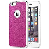 iPhone 6s Case, iPhone 6 Case, ULAK [Bling Glitter] Crystal Plastic Case with Colored Chrome Coating Cover for Apple iPhone 6 & 6S 4.7 inch Generation (Rose Pink/Glitter)