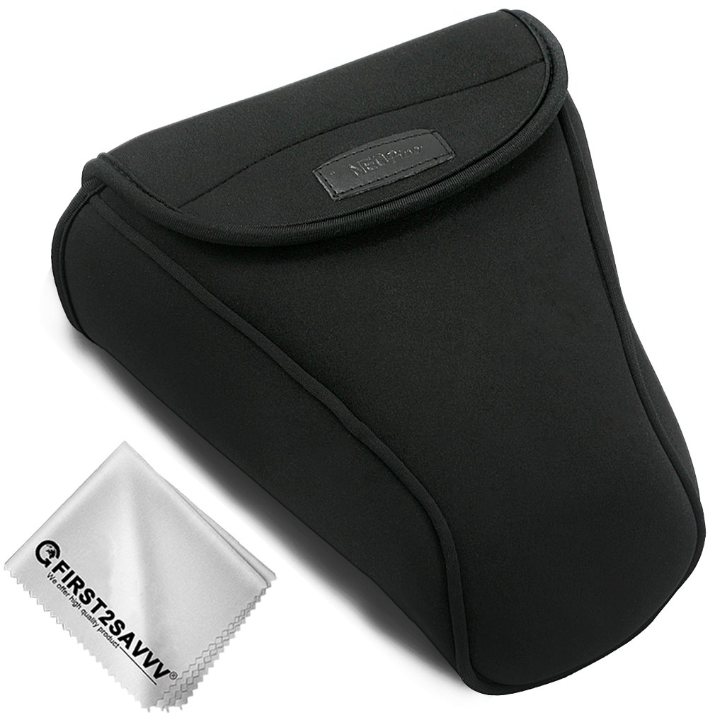 First2savvv Camera Case Bag for Canon EOS T7i T6i T5i T4i 650D 80D 70D 60D 800D 77D 760D 750D 700D 50D 7D MkII 7D 6D MkII 6D 5D MkII with 18-135 24-105 18-200 mm Lens + Cleaning cloth QSL-SLRL-C-A01