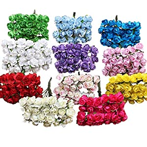 DraFenn 12Pcs/Bundle 1Cm Head Multicolor Artificial Paper Flowers Rose for Decorative Gift Wedding Box 45
