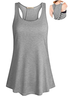 bc89aef32d248 Cyanstyle Women s Sleeveless Scoop Neck Flowy Loose Fit Racerback Yoga Tank  Top