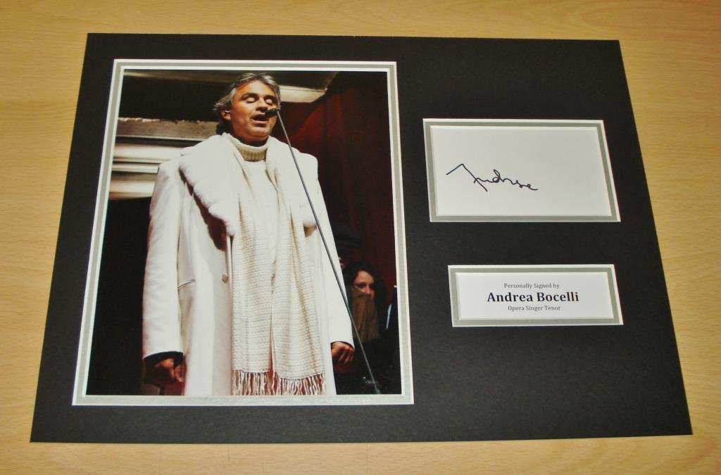 Up North Memorabilia Andrea Bocelli GENUINE HAND SIGNED Autograph 16x12 Photo Display Opera + COA