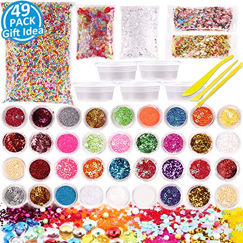 Slime Supplies Kit 49 Pack Slime Making Supplies, Include Slime Glitter, Foam Balls, Fishbowl Beads, Fruit Cake Slices, Slime Containers, Slime Accessories for Slime Art DIY Craft by INFELING