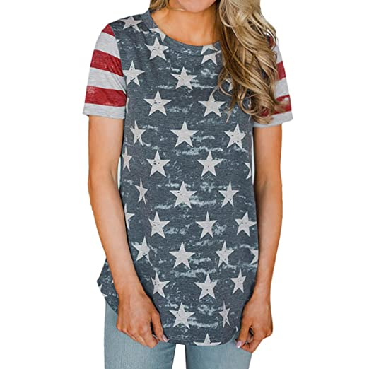 a37194eb Fudule Women Short Sleeve Shirts Round Neck Star Printed Casual Loose  Hollow Blouse Tops Tee Shirt for Summer at Amazon Women's Clothing store: