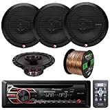 Pioneer DEH150MP Car Stereo CD Receiver Bundle Combo With 4x Rockford Fosgate R165X3 Prime 6.5'' Inch 180 Watt 3-Way Full-Range Black Car Coaxial Audio Speaker + 50 Foot 16-Guage Speaker Wire