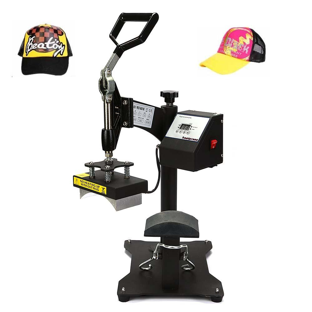 Happybuy Heat Press 6x3Inch Curved element Hat Press Swing-away Design Heat Press for Hats Rigid Steel Frame No Stick Digital LCD Timer and Temperature Control (6x3Inch Swing-away) by Happybuy