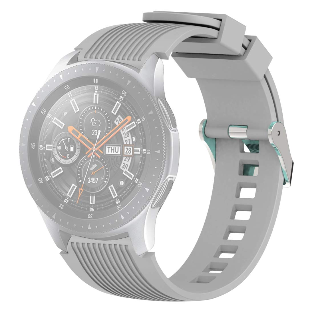 Vertical Grain Wrist Strap Watch Band for Galaxy Watch 46mm Premium Quality (Color : Grey) by GuiPing
