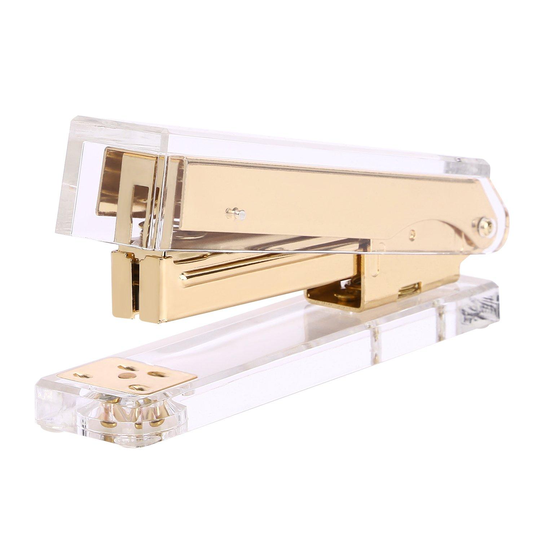 Acrylic Stapler, DRROT Commercial Desk Clear Stapler Office Desk Accessory - Gold