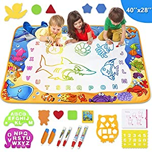 Toyk Aqua Magic Mat – Kids Painting Writing Doodle Board Toy – Color Doodle Drawing Mat Bring Pens Educational Toys for…