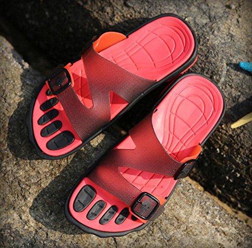 GLTER Hombres Sandalias Abiertas Dedo Pie Zapatillas Transpirables Zapatos Ocasionales De La Playa ResbalóN En Flips-Flopes Red