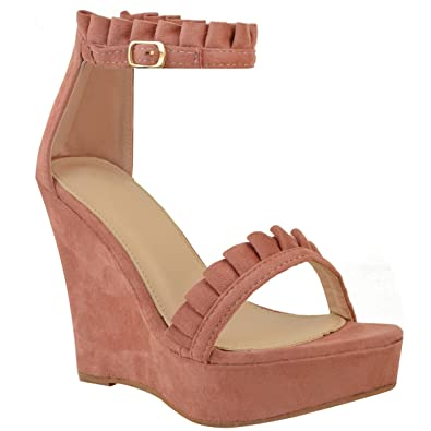 6e52d36a2e0 Fashion Thirsty Womens Wedge High Heels Frill Ankle Strap Platforms Sandals  Summer Size 6