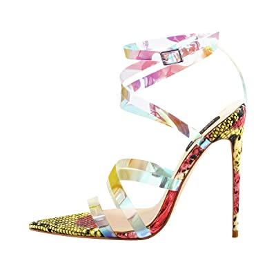 Onlymaker Womens Iridescent Clear Criss Cross Snake Pointed Open Toe Sandals High Heel Fashion Summer Party Shoes | Sandals