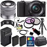 Sony Alpha a5100 Mirrorless Digital Camera with 16-50mm Lens (Black) + Sony SEL 1855 18-55mm Zoom Lens + 32GB Bundle 14 - International Version (No Warranty)