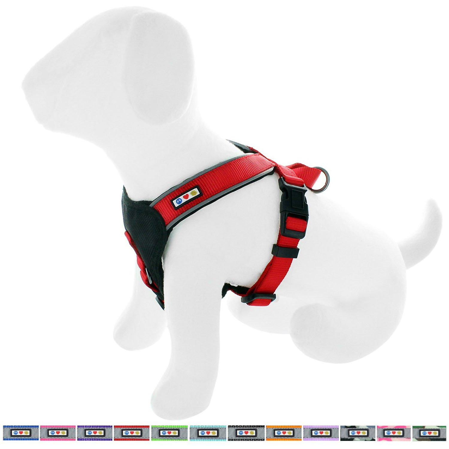 Pawtitas Reflective Dog Harness Padded Dog Harness Red, Large Extra Large L XL
