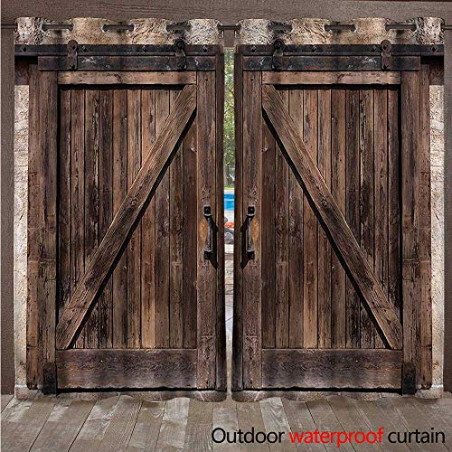 cobeDecor Rustic Outdoor Ultraviolet Protective Curtains Wooden Barn Door Image W72 x L84(183cm x 214cm)