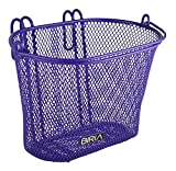 Biria Basket with Hooks Purple, Front, Removable, Children Wire mesh Small Kids Bicycle Basket, New, Purple