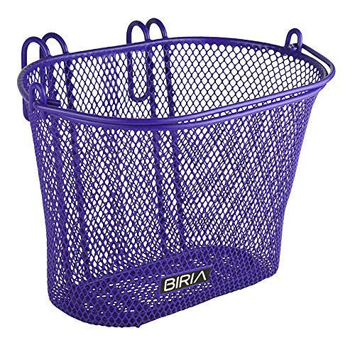 (Biria Basket with Hooks Purple, Front, Removable, Children Wire mesh Small Kids Bicycle Basket, New, Purple)