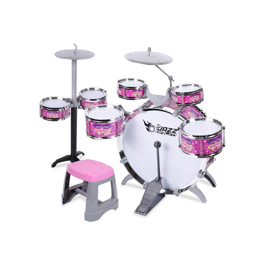 LINGLING-Trommel Kindertrommeln Musik Lernspielzeug Große 7 Trommel Verdickung Tympanic Membrane (Farbe   Rosa) Rosa