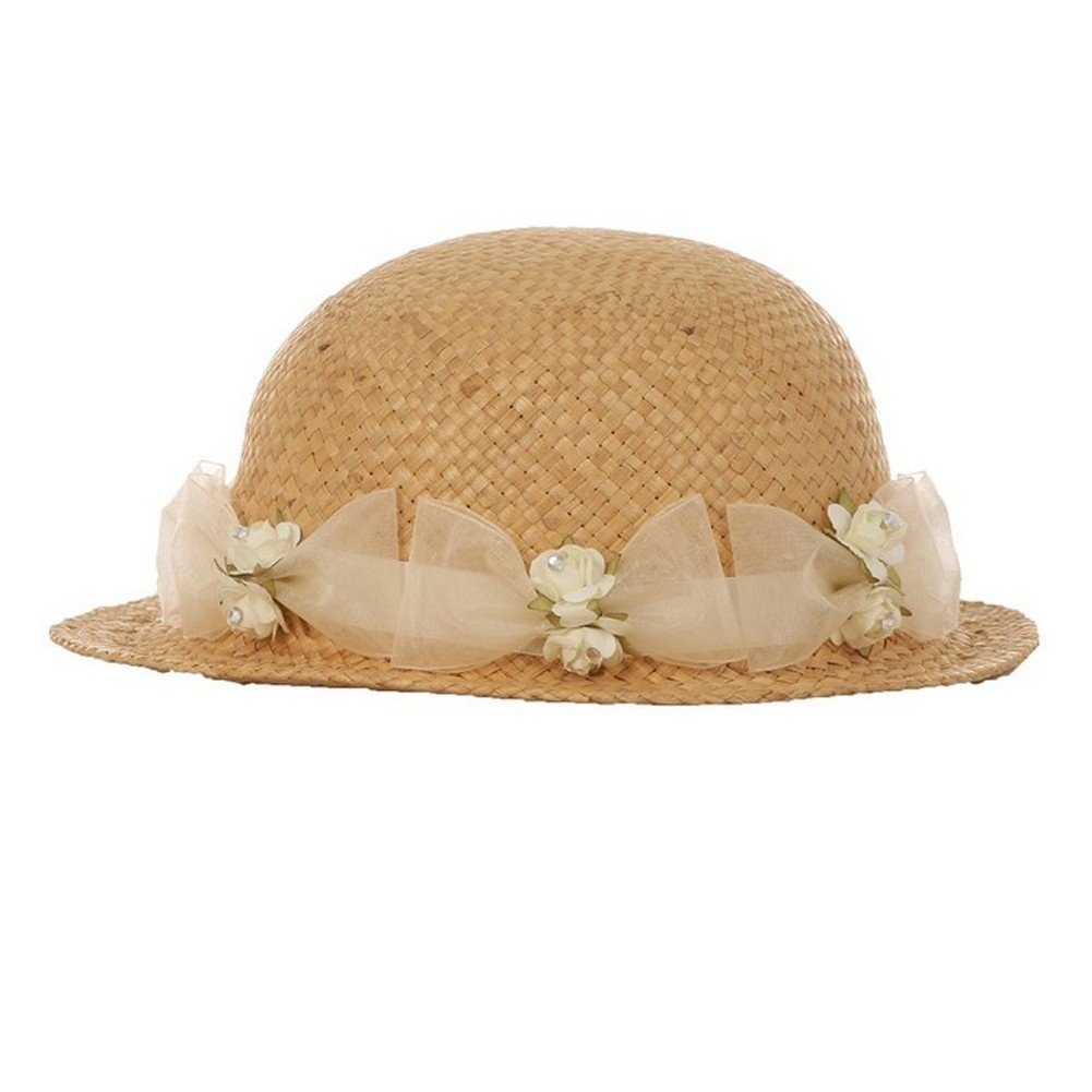 Baby Girls Tan Ivory Flower Ribbon Attached 18 Circumference Straw Hat