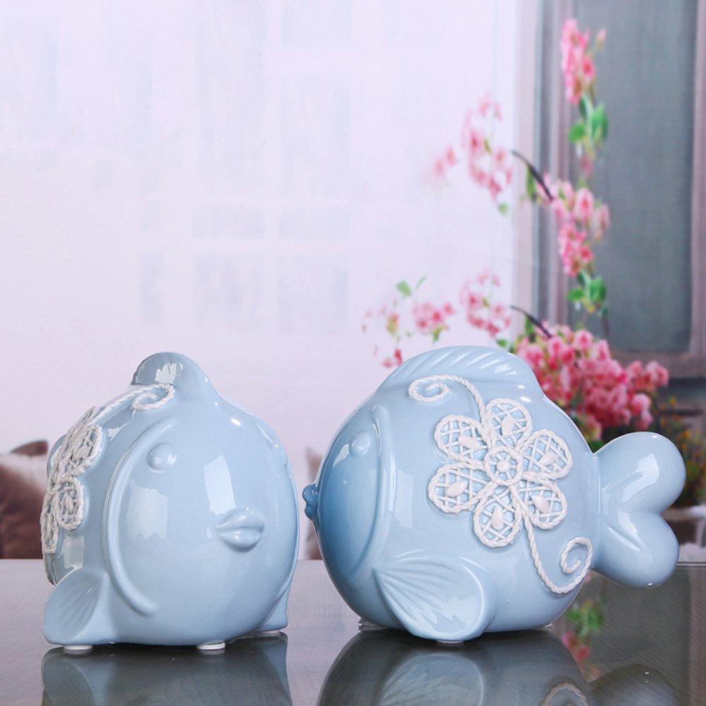 Decorazione artigianale - Ceramica baciare pesce mestieri decorazioni per la casa Semplicità moderna Decorazione, una coppia - Migliore regalo