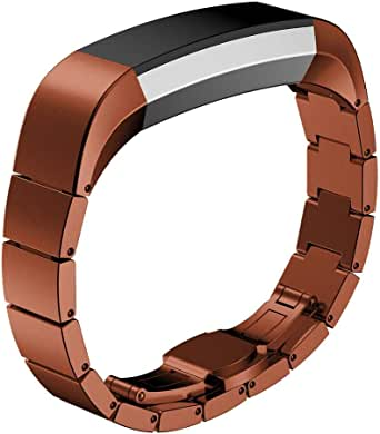 Metal Wrist band Stainless Steel Replacement Strap Fitbit Alta - Brown