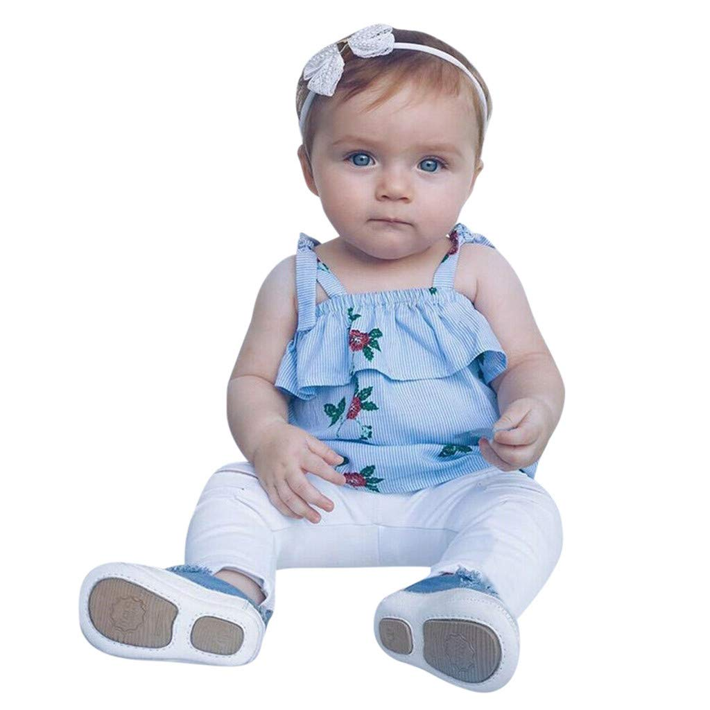 2019 Fashion Mommy &Me Baby Girl Floral Print Sleeveless Ruffles T-Shirt Tops Family Clothes Parent-Child Outfit by GIFC (Image #4)