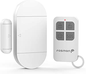 Fosmon Anti -Theft Burglar Alarm with Remote, Wireless Window and Door Open Entry Alert Magnetic Contact Sensor Battery Operated Loud 130decibel Siren for Home Security, Business, Kids Safety