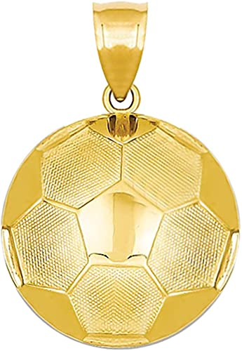 US Jewels And Gems New 14k Yellow Gold Small Soccer Pendant Charm with Necklace