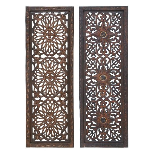 Deco 34087 Elegant Sculpture 2 Assorted Wood Wall Panel
