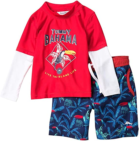 Tommy Bahama Boys Baby Long Sleeve Rashguard and Trunks Swimsuit Set
