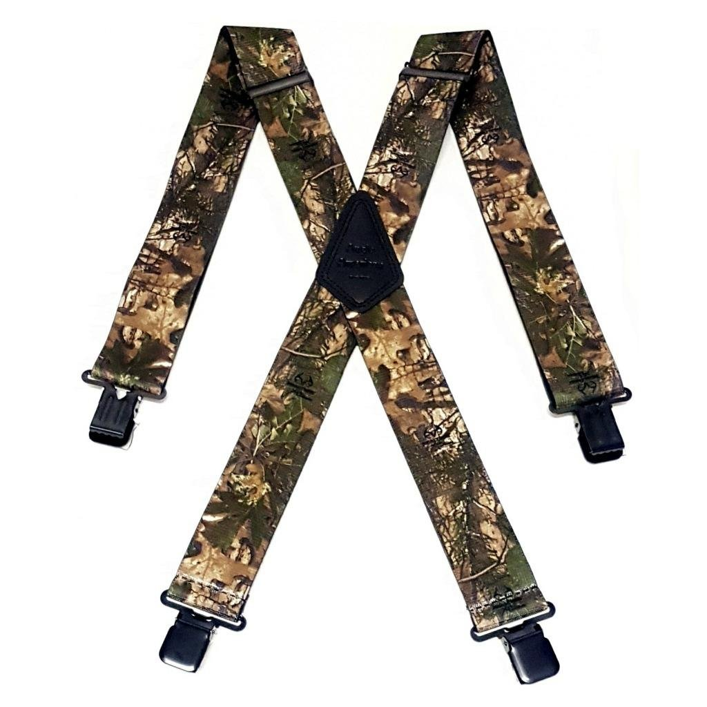"Mens Braces Heavy Duty 1.5/"" or 2/"" Woodland  Camoflauge Fishing Camo Black Clips"